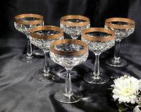 6 Spiegelau Bleikristall Likörkläser mit breitem Goldrand und gravur
