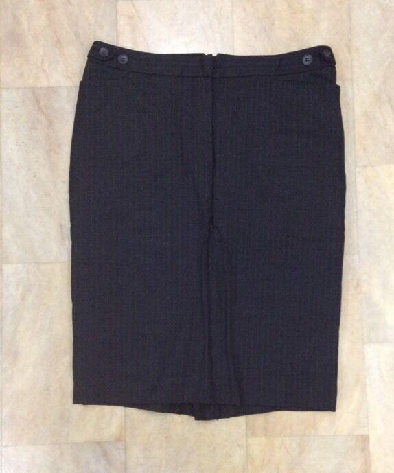 Club Monaco Grey Wool Blend Pinstripe Lined Smart Work Skirt Size Us8