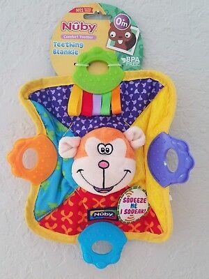 Squeak /& Crinkle Teether /& Blanket Nuby Teething Blankie Monkey