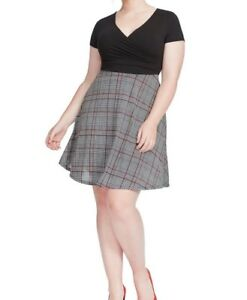 Gilli-Jersey-Black-And-Plaid-Print-Twofer-Fit-And-Flare-Dress-Size-1X