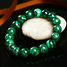 Handmade Natural 10mm Green MALACHITE Round Beads Stretch Bracelet Bangle