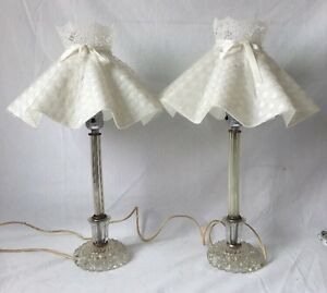 Image Is Loading 2 Vintage Crystal Glass Boudoir Candlestick Table Lamps