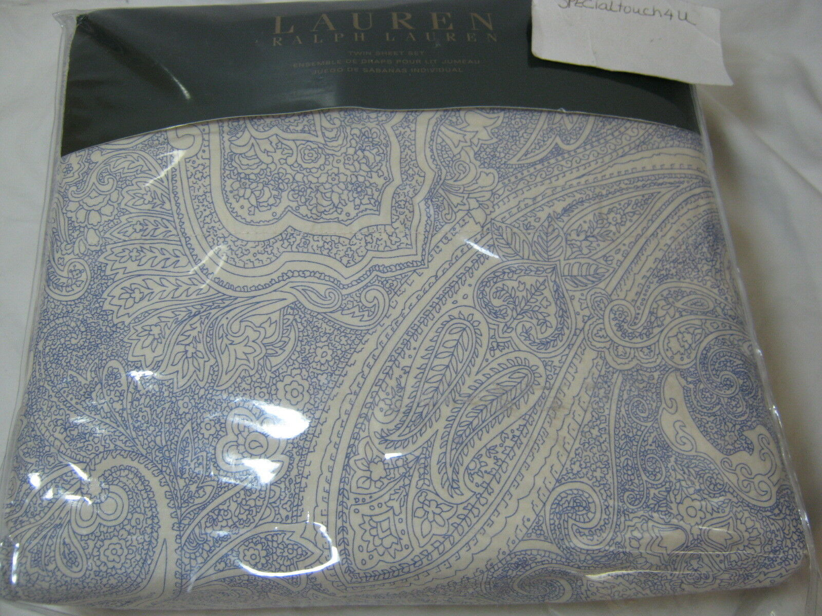 New RALPH LAUREN TWIN SHEET SET Blau Cream PAISLEY Leaf Floral NIP
