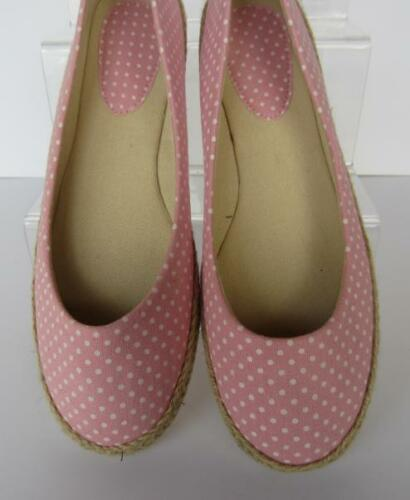 F2200 Perfect for Summer Ladies Pink Polka Dot Canvas Espadrille Pumps