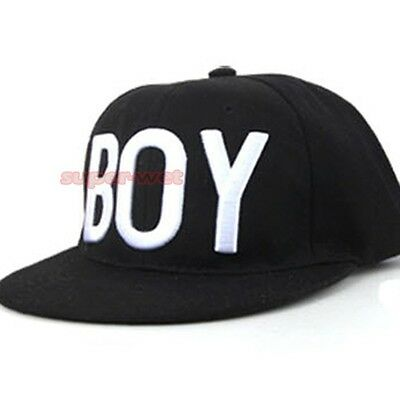 Toddler Boy Girl Kid Cap Letter Hat Baseball Flat Peak Adjustable Snapback Black