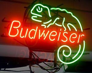 budweiser neon lizard sign signs beer