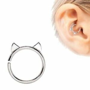 Details About 16g Cat Cartilage Daith Tragus Piercing Jewelry Kitty Ears Annealed Stainless