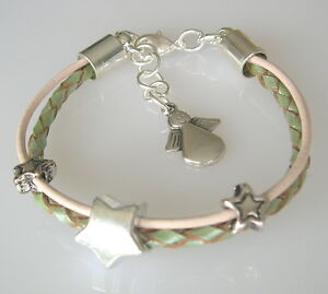 Kinder-Armband-Leder-lindgruen-Engel-Sterne-geflochtenes-Lederarmband
