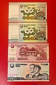 LOT-OF-FOUR-KOREAN-BANKNOTE-2005-08-UNC-1000-200-5-SAME-AS-PICTURE