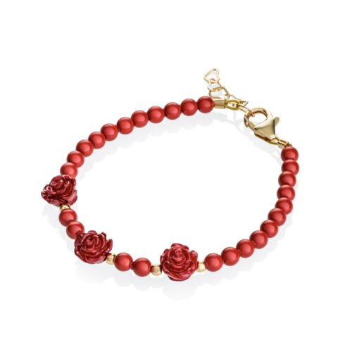 Baby Bracelet with Red Coral Pearls and Flowers with 14kt Gold Filled Beads