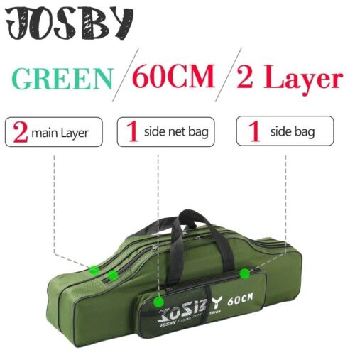 Portable Foldable Fishing Rod Carrier Pole Tool Storage Bag Case Multifunctional