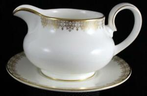Royal Doulton Gold Lace Gravy Boat W Underplate Bone China H4989 Great Condition Ebay