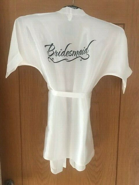 Wedding Dressing Gown Role BRIDESMAID Age 7-8 years in IVORY Silky Satin