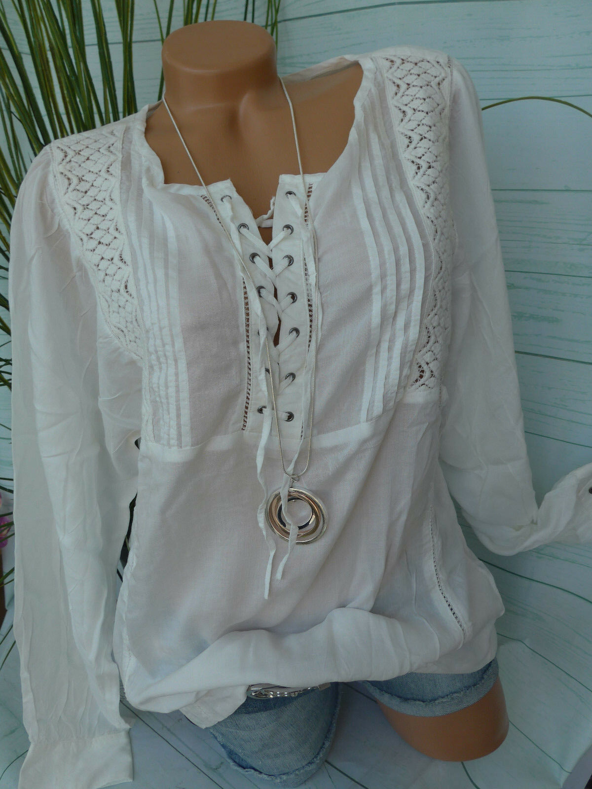 Garcia Jeans Blouse Shirt Tunic Size S up to XXL White with Lace (056) New