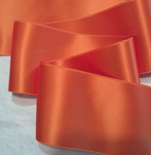 "PUMPKIN ORANGE 2/"" WIDE SWISS DOUBLE FACE SATIN RIBBON"
