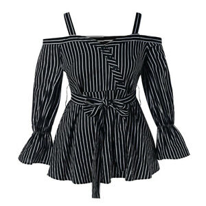Fashion-Ladies-Button-Plus-Size-Open-Shoulder-Belted-Stripe-Blouse-Shirt-Tops-LY