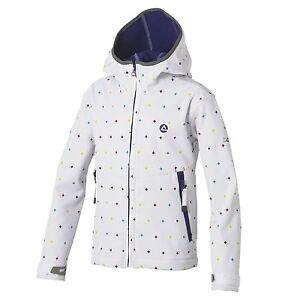 GIRL/'S DARE2B /'SCRIBBLE/' WHITE PATTERN WATER REPELLENT AND WINDPROOF SOFTSHELL.