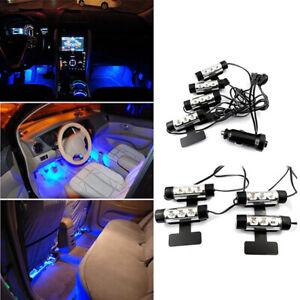 4X-3-Led-Blue-Car-Interior-Light-12V-Glow-Decorative-Atmosphere-Lights-Lamp-FE