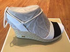NIB $135 Michael Kors Ivy Optic White & Black Canvas Closed Toe Wedge Sz 6M