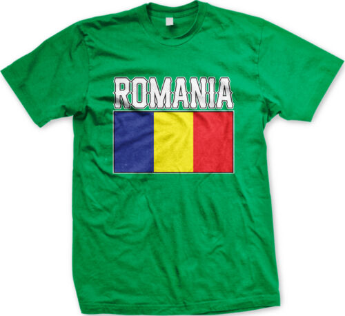 Romania Flag Colors Font Romanian Country Soccer Heritage RO ROU Men/'s T-Shirt