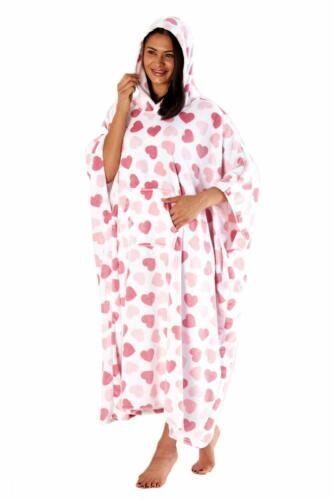 i-Smalls Ladies Poncho Lovehearts Plush Fleece Hooded One Size