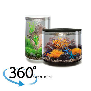 biorb tube design aquarium komplett set mit multiucolor beleuchtung schwarz wei ebay. Black Bedroom Furniture Sets. Home Design Ideas