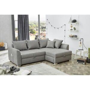 Boomer Grau Couchgarnitur Sofa Wohnlandschaft Ecksofa Alle Kissen