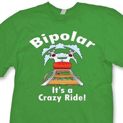 BIPOLAR It/'s A Crazy Ride Funny Bears Tee Roller Coaster Crew Neck Sweatshirt