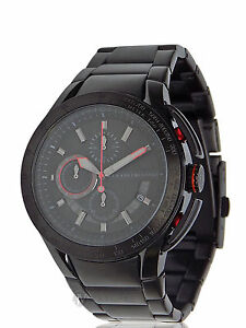 NEW-MENS-ARMANI-EXCHANGE-A-X-AX1404-BLACK-RED-STAINLESS-STEEL-WATCH-SALE
