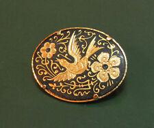 Sehr schöne ältere TOLEDO-BROSCHE Blumen-u.-Vogel-Ornament • oval
