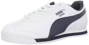 PUMA-Mens-Roma-Basic-Low-Top-Lace-Up-Fashion-Sneakers-White-New-Navy-Size-11-0