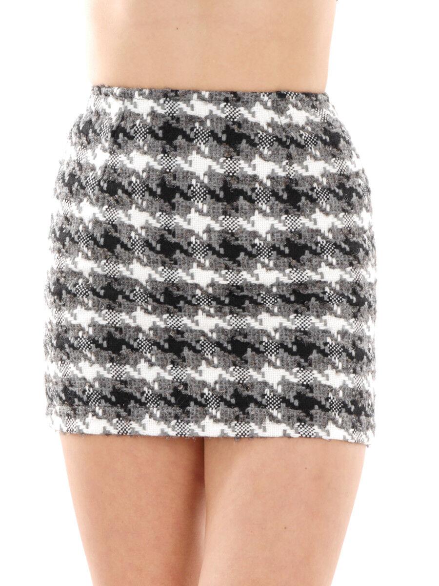 Richard Kravetz Mini Skirt Wool Skirt Grey Pattern Zipper Short
