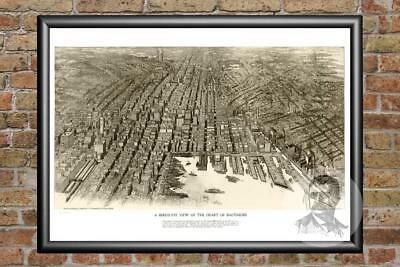 Historic Maryland Art Old Victorian Industrial MD Map 1912 Vintage Baltimore