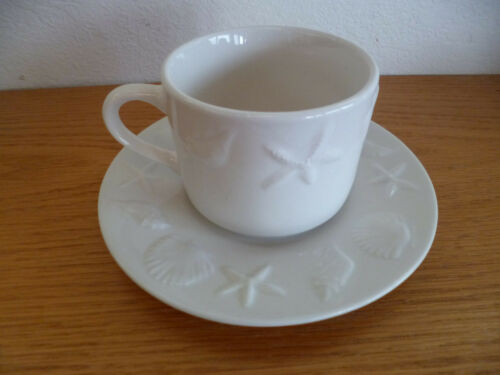 Tabletops Unltd Coquille White Embossed Shells & Starfish 1 Cup Saucer Set