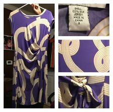 Diane Von Furstenberg Women's Cap Sleeve Dress Purple Gold 100% Silk Jersey 2