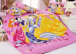 New Disney Five Princess Bedding Set 4pc Full Bed Queen