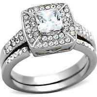 Women's Princess Halo Cz Stainless Steel Wedding Engagement 2 Ring Guard Set