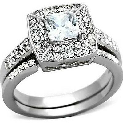 Women's Stainless Steel Halo Princess CZ Wedding Engagement 2 Ring Guard Set