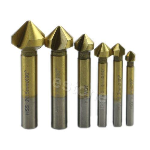 6 Pcs 3 Flute HSS Titanium Chamfer End Mill Cutter Bit Countersink Set New