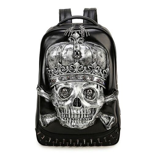 3D Skull Gothic Punk Rock Alternative Studs Rucksack travel Backpack shoulderBag