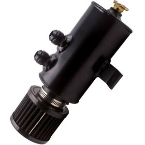 Aluminium-Baffled-Engine-Oil-Catch-Can-2x-AN10-Twin-Port-Breather-Filter-New-BLK