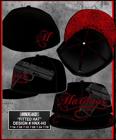 Hardnox Fitted Hat with Gun Print