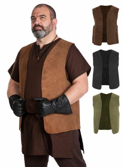 Handgemachte Leder Weste schwarz LARP Mittelalter