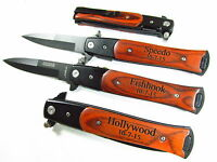 3 Personalized Engraved Stiletto Style Spring Assist Knives Groomsman 2lines