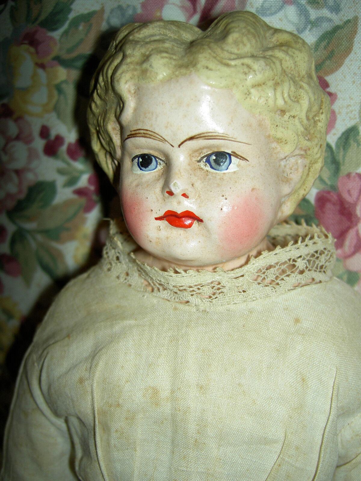 Wonderful antique, paper mache papiermache doll 15  deep curls, 1880s all orig.