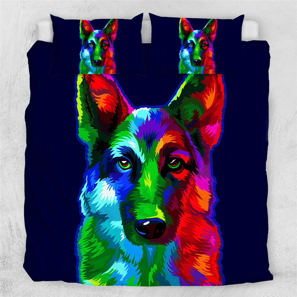 German Shepard Hund Pet 3D Animal Double Single Quilt Duvet Pillow Startseite Bett Set