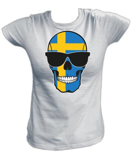 Damen T-Shirt SKULL FLAG FLAGGE SWEDEN Schweden Svenska Stockholm Fußball Footb