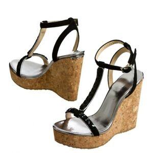 e23ca347513 Details about Jimmy Choo Cork Sandals Platform Espadrilles Naima Jeweled  T-Strap Wedge 42 Shoe