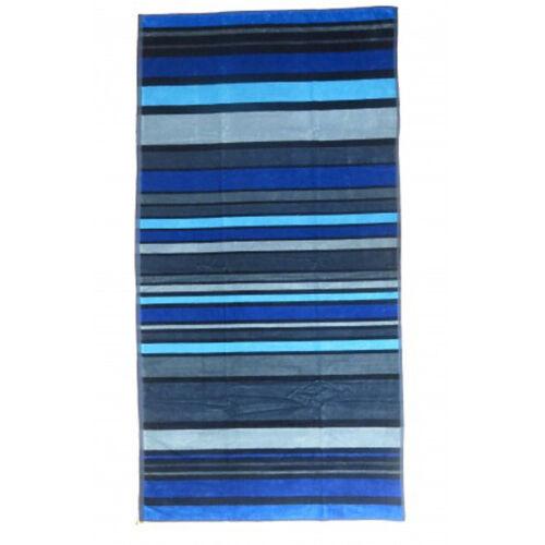 Serviette de plage rayée bleue et noire 100x180cm 100/% coton qualité 430grs//m²