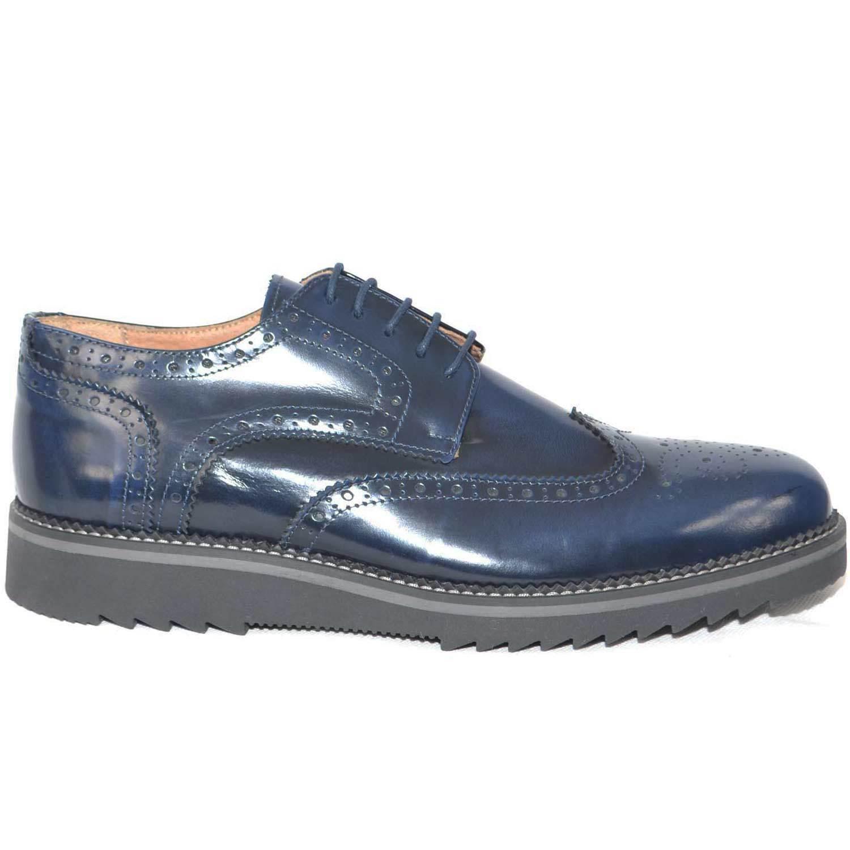 scarpe uomo stringate inglese vera pelle abrasivato blu made in italy fondo furi Scarpe classiche da uomo